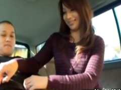 japanese milf gives cook jerking on backseat of
