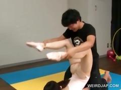oriental gymnast sucks coachs shaft during the