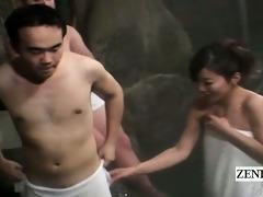 subtitled cfnm outdoor japanese bathhouse