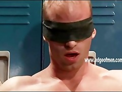 built and blindfolded homo guy is tied up to a