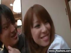 oriental sweetheart girl flashing in public and