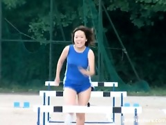 cute oriental honey acquires excited running in