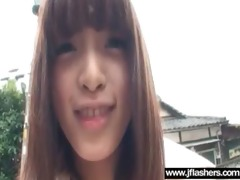 oriental chick cutie flashing in public and group