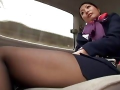 nice japanese air hostess plays with three-some