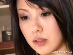 oriental brunette hair acquires milk shakes teased
