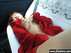 cute oriental gal flashing and fucking hard