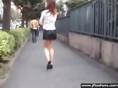 oriental sweetheart beauty flashing in public and