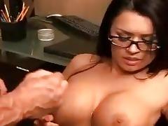 eva angelina receives sprayed with a sticky laod