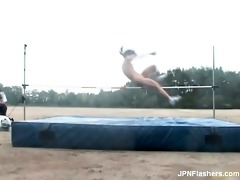 glamorous oriental chick runs nude and jumps