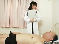 japanese chick nurse receives filthy
