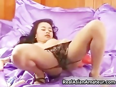 tiny oriental babe undresses and dildo part6