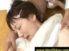 japanese hotty gets screwed by four studs