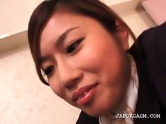 oriental flight attender slit teased in nylon