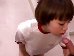 sporty japanese cutie sucks her teachers cock at