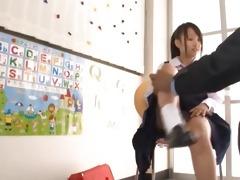 oriental schoolgirl gets wet crack rubbed