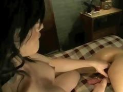 asian dark brown lady-man pounds her boyfriend