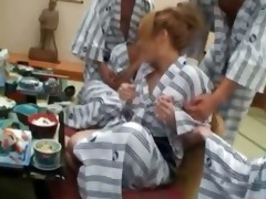 concupiscent group of japanese fellows abusing