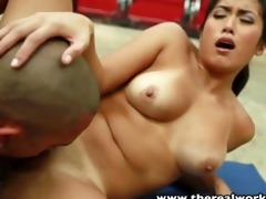 therealworkout breasty oriental gym chick