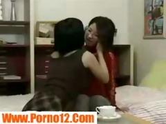 oriental lesbian babes group-sex on an