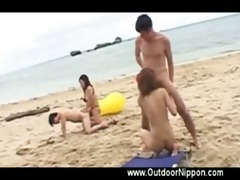 horny asians gratified on beach