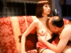 oriental sex doll acquires tits and fur pie licked