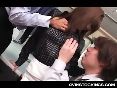 stockinged japanese legal age teenager having a