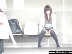 japanese hotty flashing in public and banging