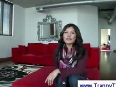 oriental t-girl does an interview