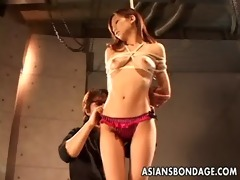 lovely japanese gal is made to cum in ropes