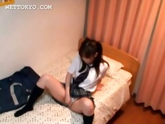 concupiscent oriental teen cutie masturbating her