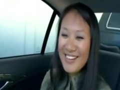 asian goes for a car ride fuck