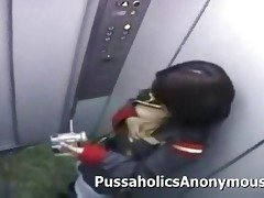 japanese beauty masturbating on an elevator